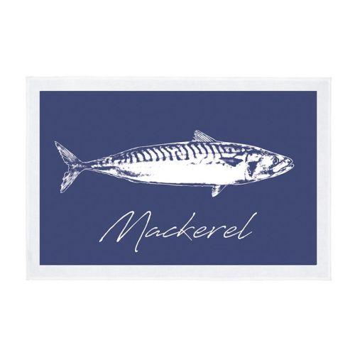 Tea Towel - Mackerel - Navy Blue
