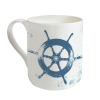 Gorgeous Bone China Mug - Ship's Wheel Design