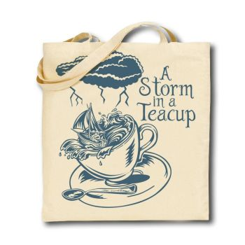 Cotton Tote Bag - Blue Storm in a Teacup - New