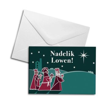Christmas Card - 3 Wise Men - Nadelik Lowen