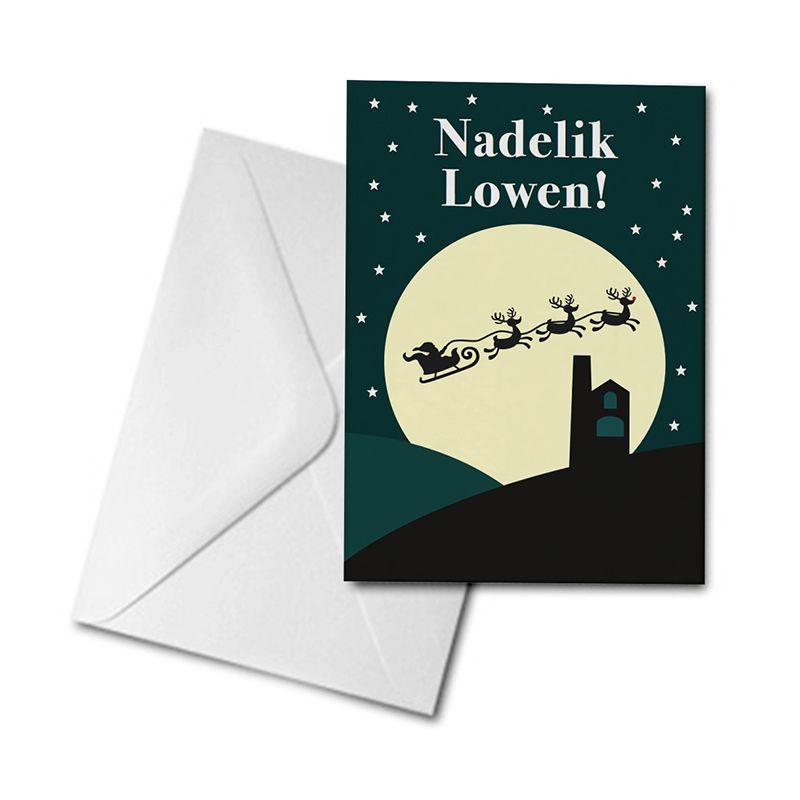 Christmas Card - Santa and Sleigh - Nadelik Lowen