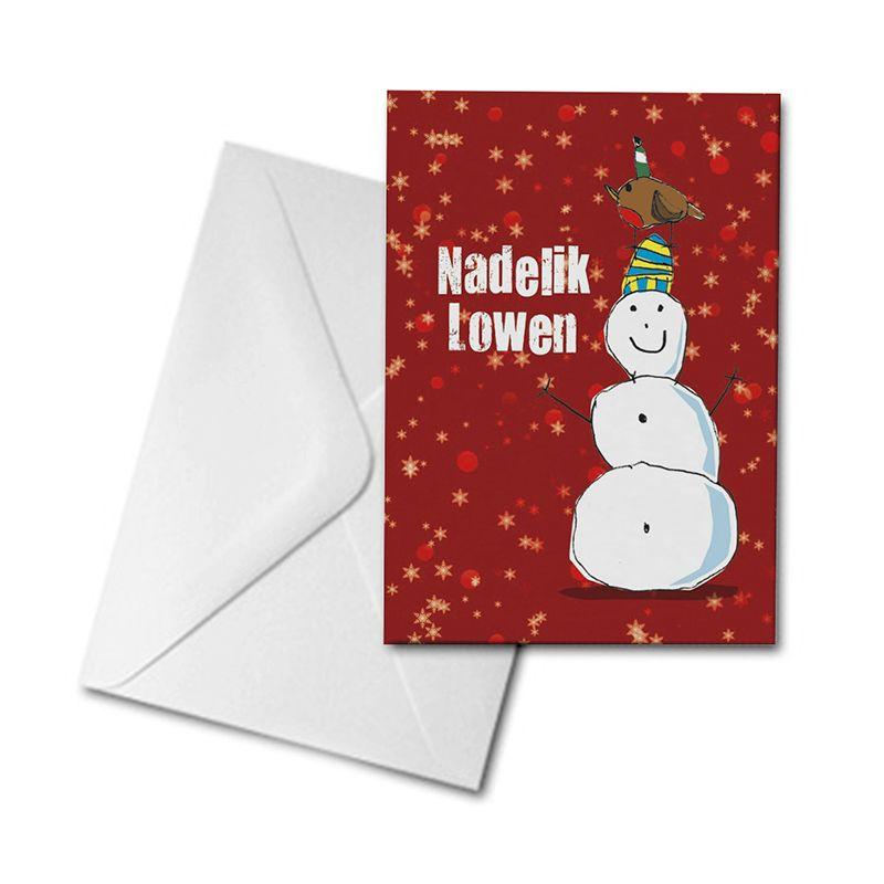 Christmas Card - Snowman and Robin - Nadelik Lowen