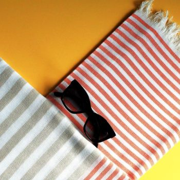Bali Hammam Towel - Orange/Beige