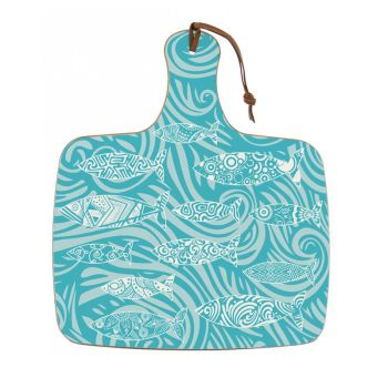 Shoal of Fish Chopping Board - Turquoise Melamine