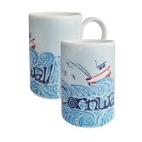 A Stunning Porcelain Mug - Cornwall Fishing Boat Design