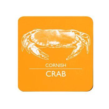 Cornish Crab Coaster - Orange & White Melamine - Cornwall Vibes