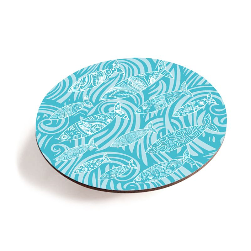Melamine Teapot Stand - Dark Shoal of Fish