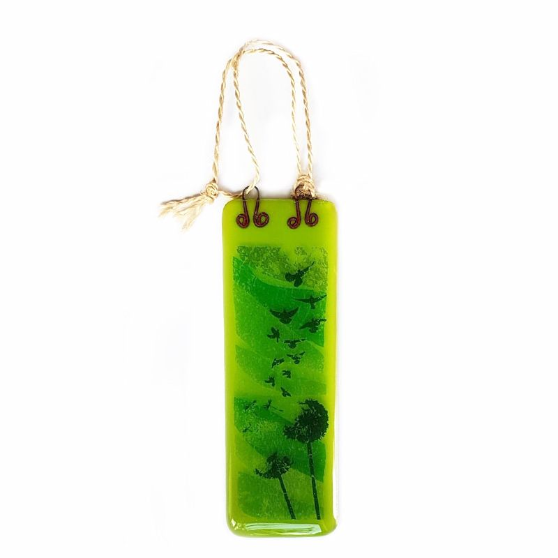 Handmade Fused Glass Hanging - Dandelions