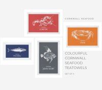Set of 4 Cornwall Seafood Teatowels