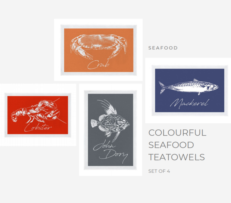 Set of 4 Seafood Teatowels