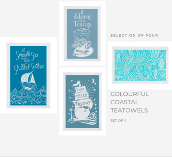 Set of 4 Coastal Teatowels