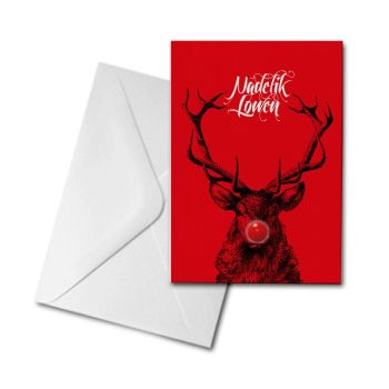 Christmas Card - Stag - Nadelik Lowen