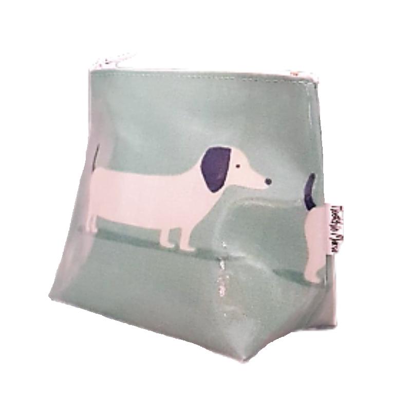 Mini Teal Hound Dog Cosmetic Bag