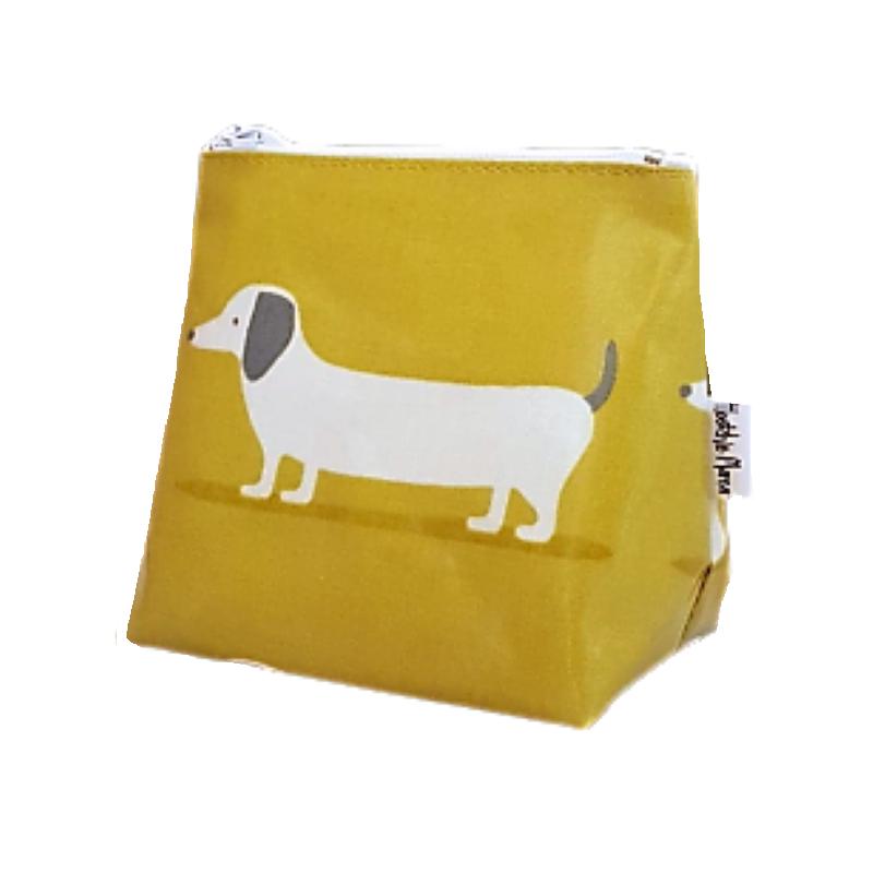 Mini Mustard Hound Dog Cosmetic Bag