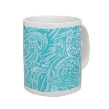 Beautiful Ceramic Mug - Shoal of Fish Design - Turquoise