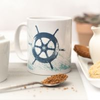Beautiful Ceramic Mug - Ship's Wheel Design