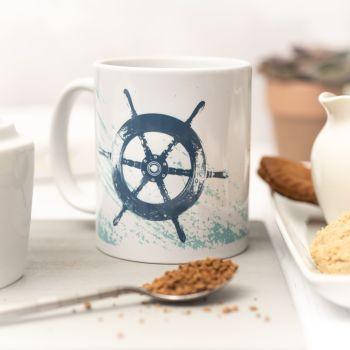 Beautiful Ceramic Mug - Ship's Wheel Design