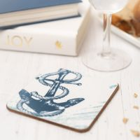 Anchor Coaster - Blue & White Melamine - Nautical Style