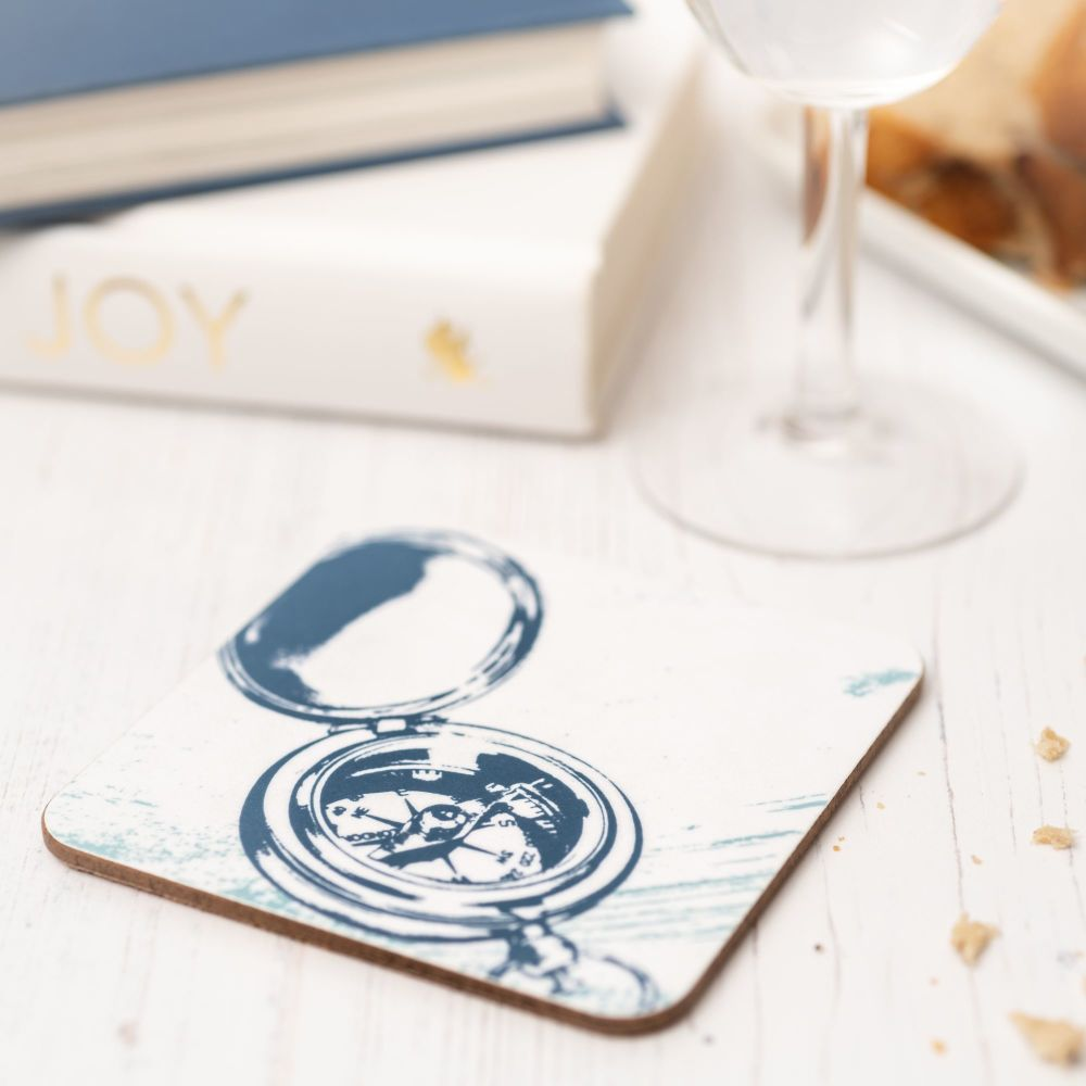 Blue and White Compass Coaster - Nautical Style