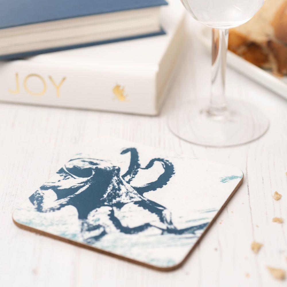 Blue and White Octopus Coaster - Nautical Style