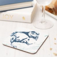 Blue and White Puffin Coaster - Nautical Style