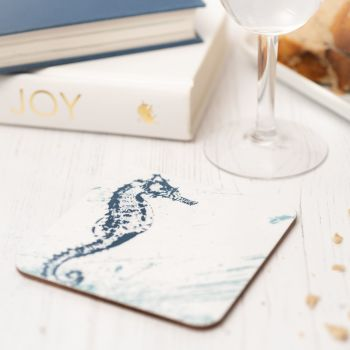 Blue and White Seahorse Coaster - Nautical Style