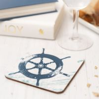 Blue and White Ship's Wheel Coaster - Nautical Style