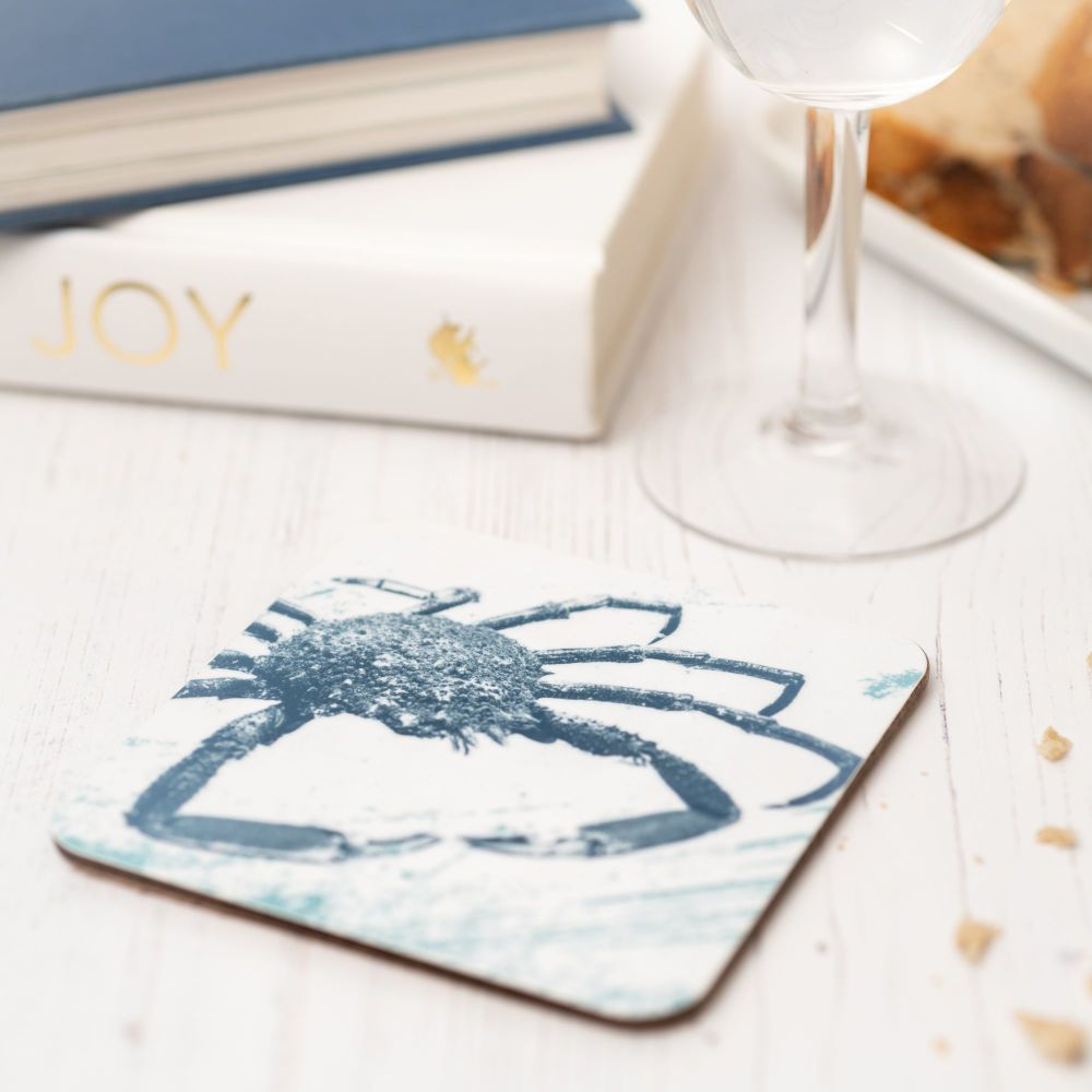 Blue and White Spider Crab Coaster - Nautical Style