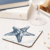 Blue and White Starfish Coaster - Nautical Style