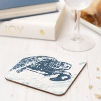 Turtle Coaster - Blue & White Melamine - Nautical Style