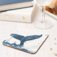 Whale Tail Coaster - Blue & White Melamine - Nautical Style