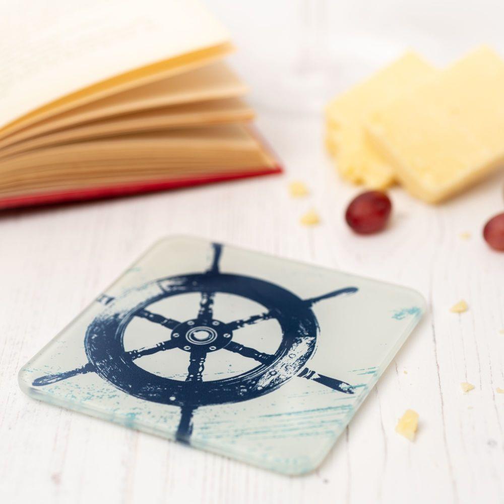 Glass Coaster - Ship's Wheel