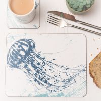 Jellyfish Placemat - Blue & White Melamine - Nautical Style