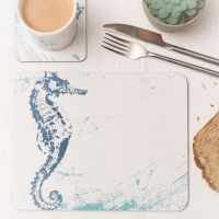 Seahorse Placemat - Blue & White Melamine - Nautical Style