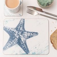Starfish Placemat - Blue & White Melamine - Nautical Style