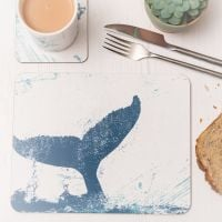 Whale Tail Placemat - Blue & White Melamine - Nautical Style
