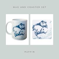 Coaster and Mug Gift - Puffin