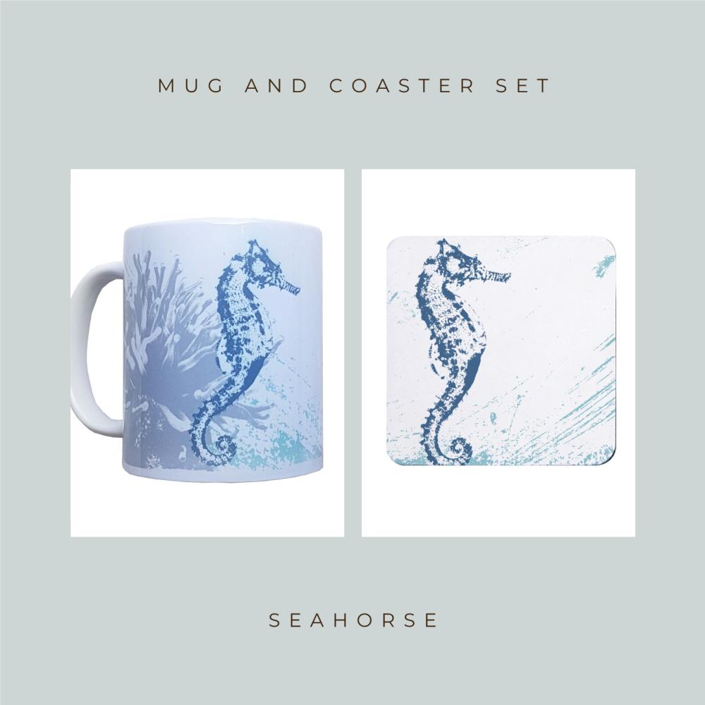 Coaster and Mug Gift - Seahorse