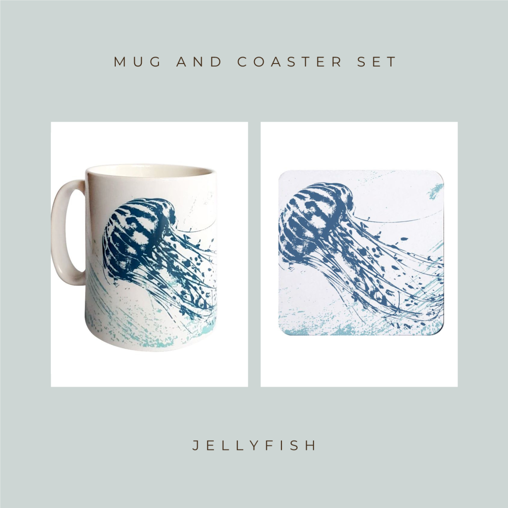 Coaster and Mug Gift - Jellyfish