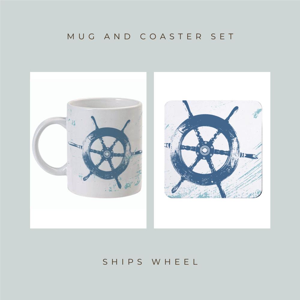 Coaster and Mug Gift - Ship's Wheel