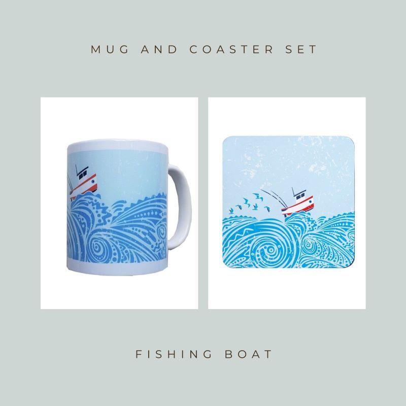 Coaster and Mug Gift - Fishing Boat