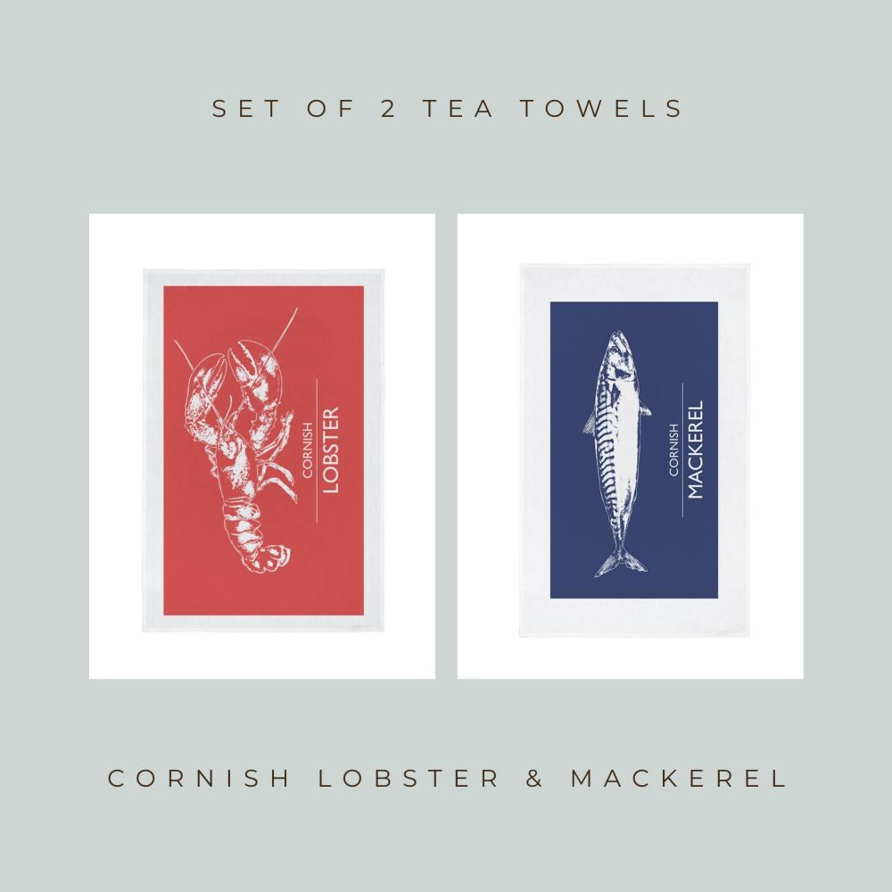 Set of 2 Cornwall Seafood Teatowels