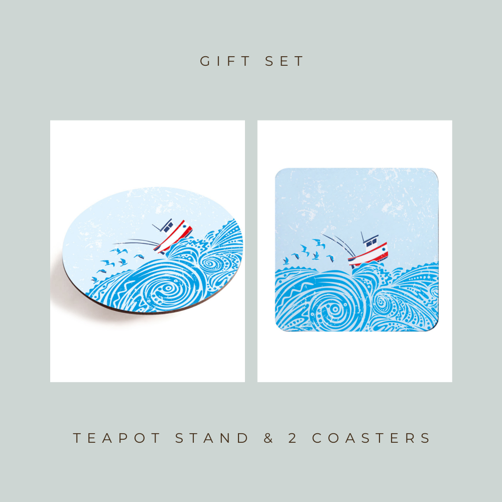 Teapot Stand & 2 Coasters