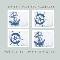 4 Placemats - 2 Anchor & 2 Ship's Wheel - Nautical Style