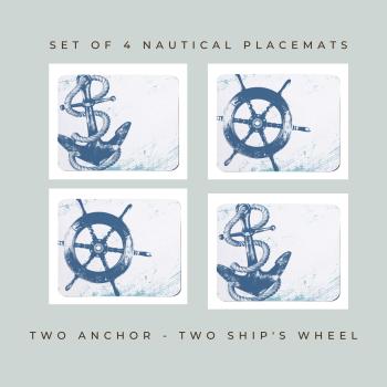 4 Placemats - 2 Anchor & 2 Ship's Wheel - Nautical Style