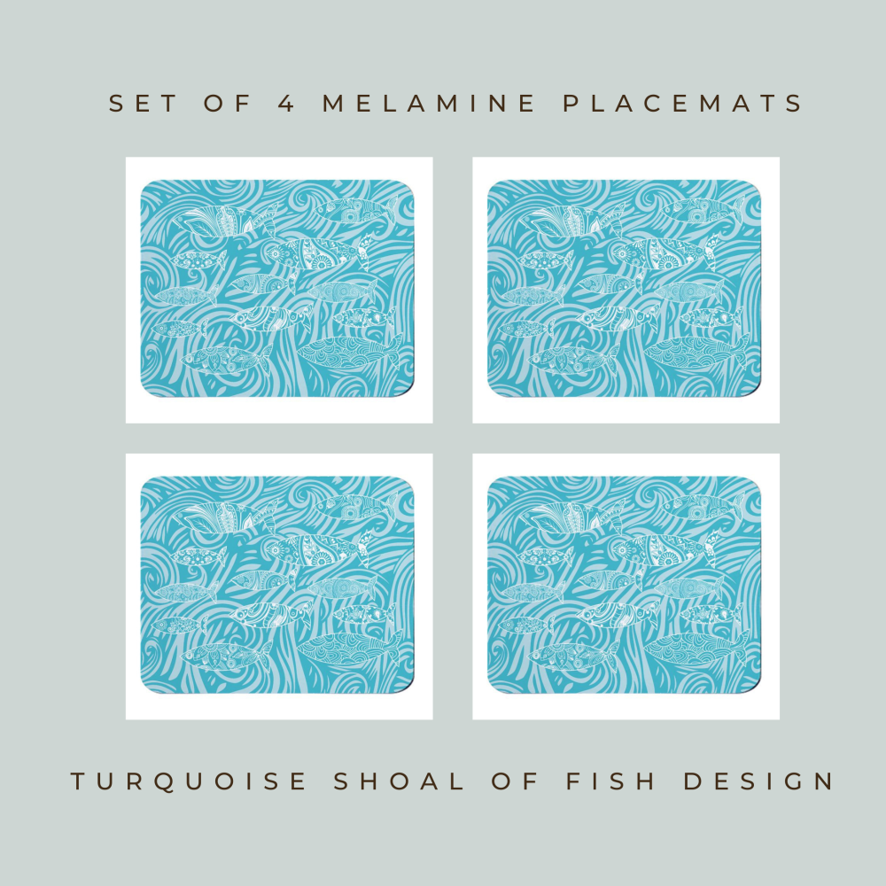 Set of 4 Placemats - Dark Shoal of Fish