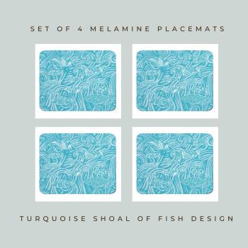 4 Shoal of Fish Placemats - Turquoise Melamine - Coastal Style