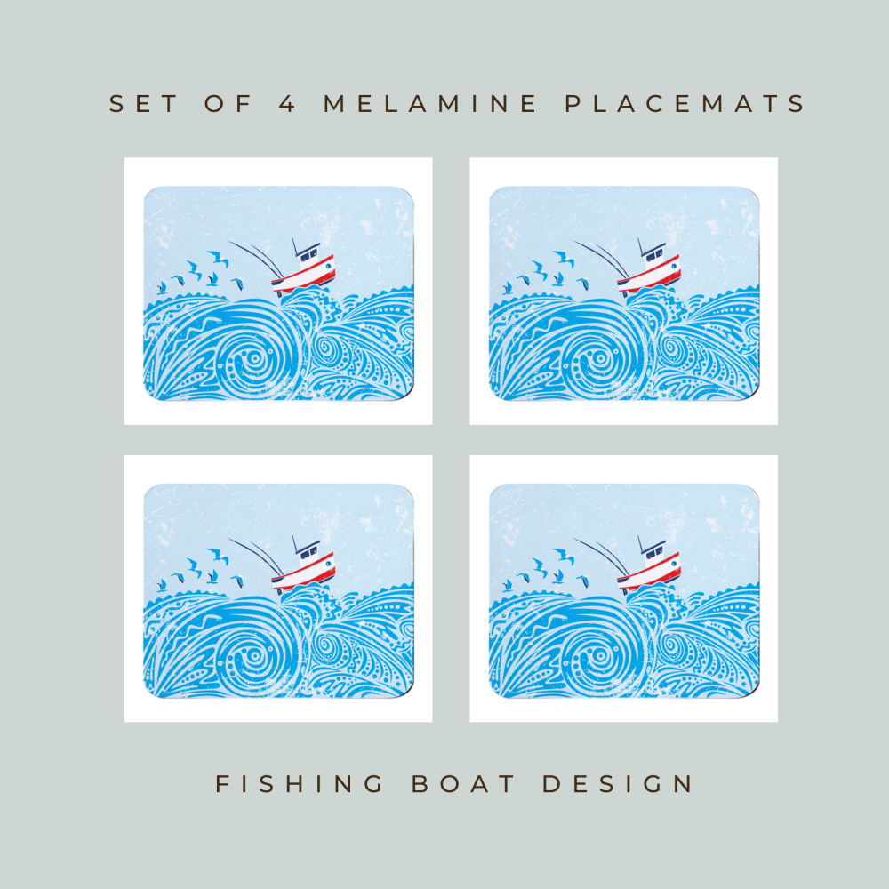 Set of 4 Placemats - Little Fishing Boat