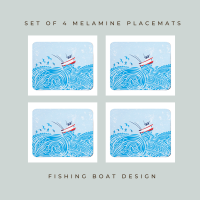 4 Fishing Boat Placemats - Full Colour Melamine - Nautical Style