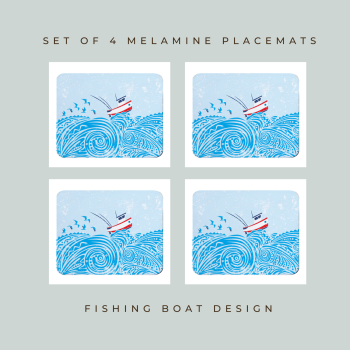 4 Fishing Boat Placemats - Full Colour Melamine - Nautical Style